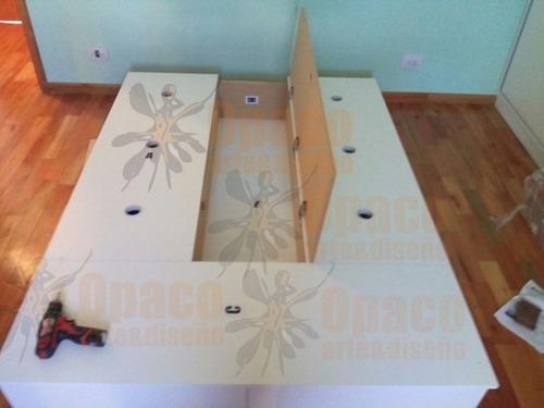 box sommier base cama 8 cajones botinero baulera 160x200