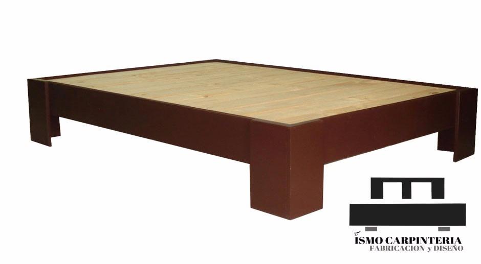 Box sping para colch n base de cama madera natural - Bases de camas de madera ...