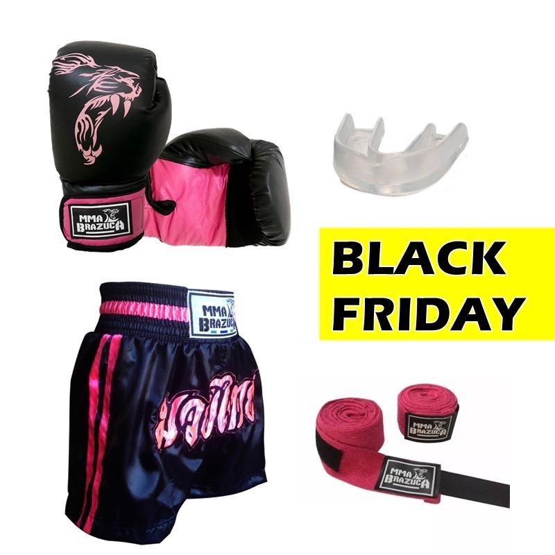 3f05c26bdb Kit Boxe Muay Thai Luva + Shorts + Bandagem + Bucal - R  99