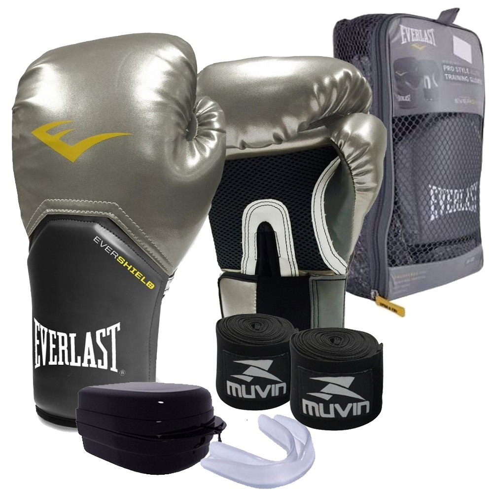 429bcb71e Kit Top Feminino Boxe Muay Thai - Luva 12 Oz Everlast Prata - R  174 ...
