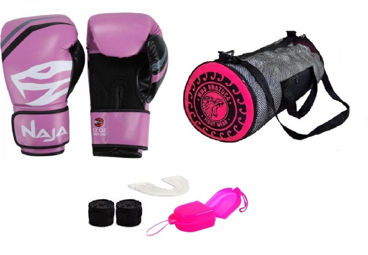 b4d8bfef3 Kit Boxe Muay Thai Luva Naja Extreme Rosa + Bolsa Acessórios - R ...