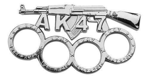 boxer ak47 solido metalico plateado manopla defensa 2448