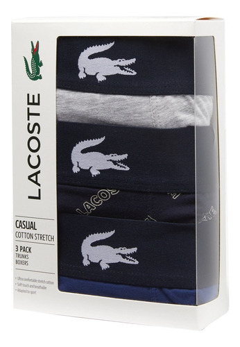 boxer lacoste pack x3 courts elastico de cocodrilo
