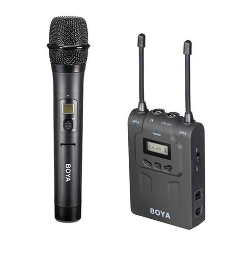 boya by-wm8 com microfone de mão 2 lapelas e receptor duplo