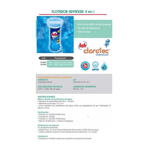 boya flotador advanced  4 en 1 cloro pileta clorotec 1,66kgs