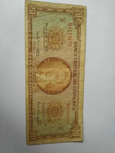 bpv - billete costa rica 20 colones serie b banco central