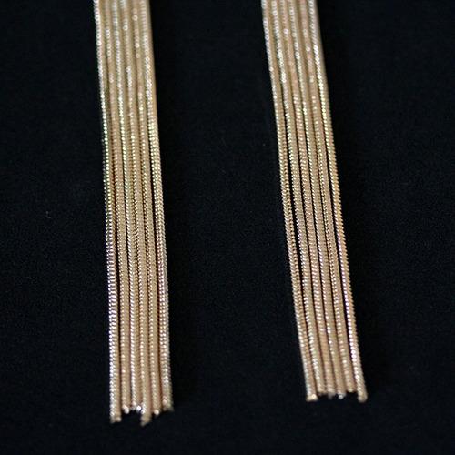br16615 - brinco folheado a ouro 18k  com zircônia fios longos 6