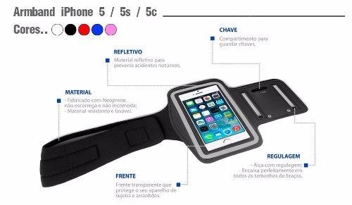 braçadeira iphone 3g 3gs 4 4s 5 5c 5s 6 ipod touch