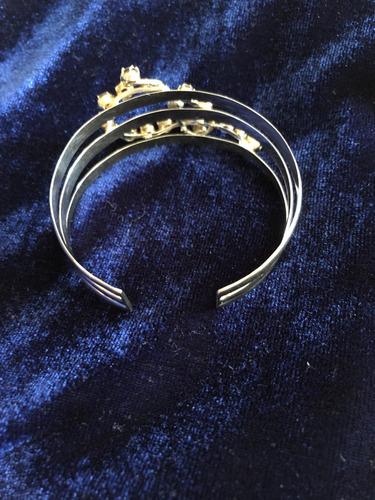bracelete antigo, em ouro branco 18k e diamantes champanhe