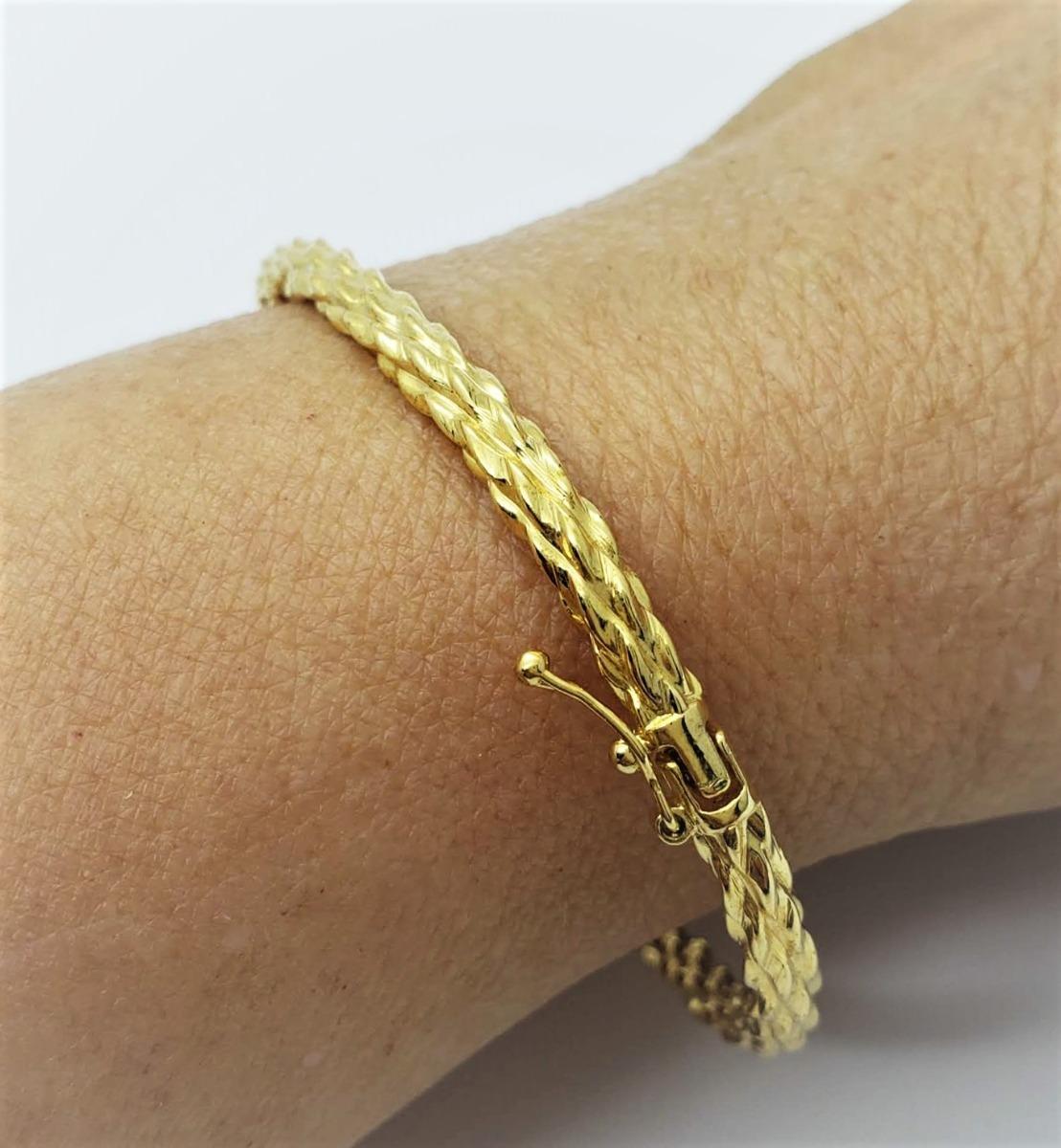 Bracelete Articulado Algema Trançado Banho Ouro 18k 1755 - R  59,00 ... 5412e44a2a