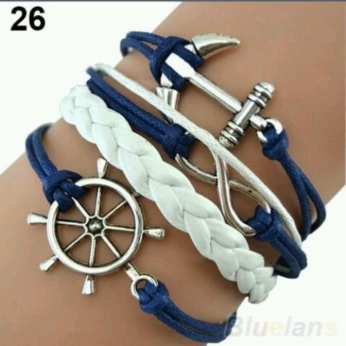 bracelete charm âncora (tamanho: 26, cor: multicoloridos)