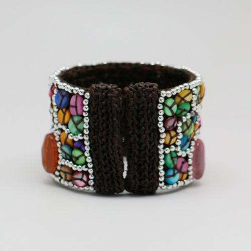 bracelete colorido com pedras + frete grátis - importado