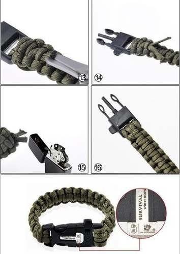 bracelete com apito, perdeneira e paracorde sobrevivencia