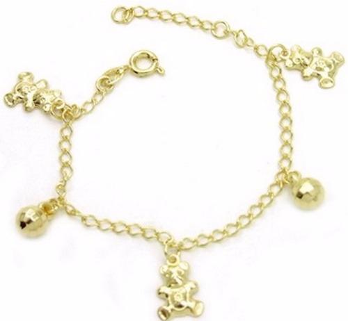 bracelete criança feminina ouro 18k banhado