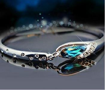 bracelete cristais austríacos liga de zinco platinado