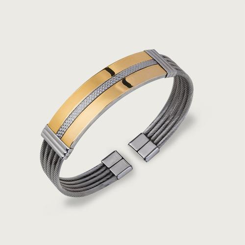 bracelete de aço com aplique em ouro 18k