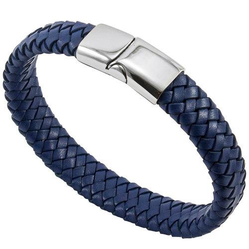bracelete de couro e aço 316l modelo blue