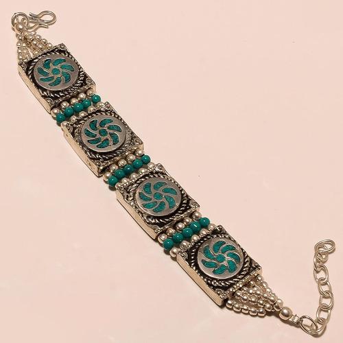 bracelete em prata tibetana com pedra turquesa
