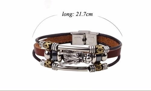 bracelete feminina masculina couro dragao