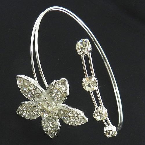 bracelete feminino flor stras branco folheada prata bra75