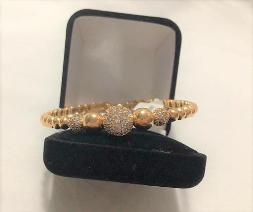 bracelete folheado a ouro com zircônias