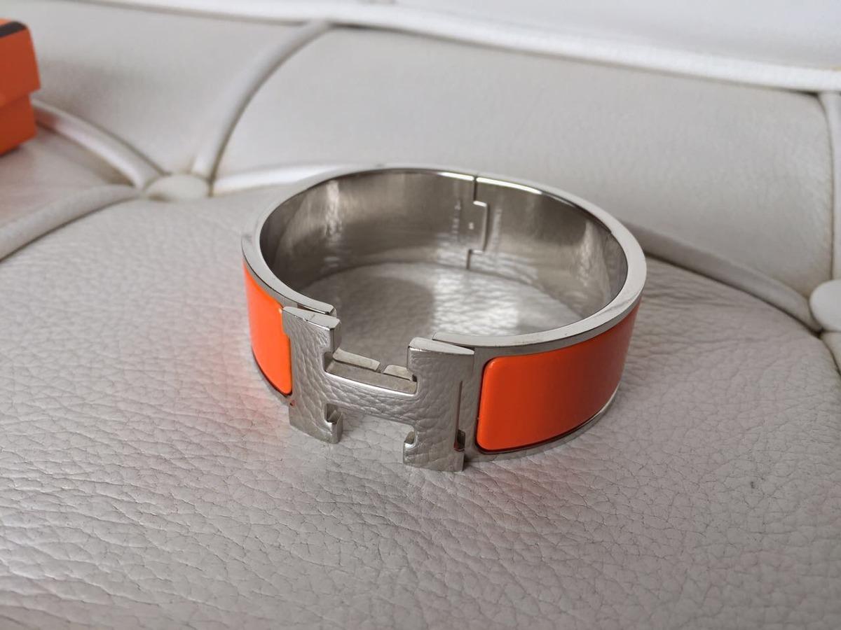 a9fa2bd742b Bracelete Hermès Clic-clac H Laranja E Prata Original - R  1.999