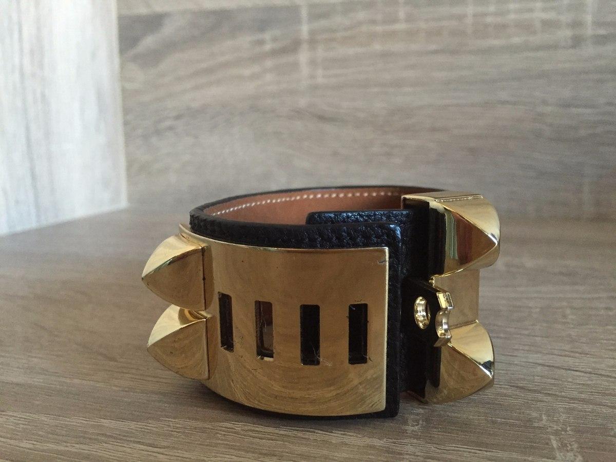 f67e150e2c1 Bracelete Hermes Couro Preto   Dourado Frete Gratis - R  117