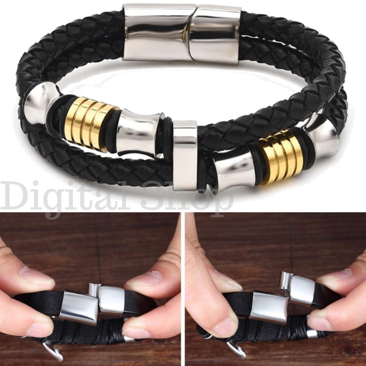 Bracelete Masculina Couro Aço Inox Ouro - Joias Em Couro - R  59,00 ... bafac8cd9a