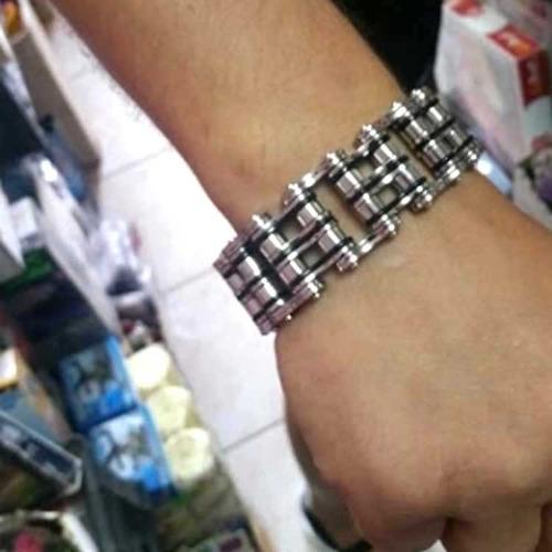 bracelete masculino aço corrente moto grossa pulseira grande