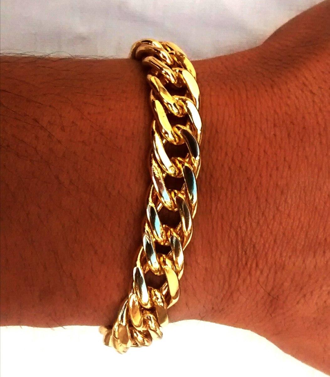 bracelete masculino banhada a ouro fecho de gaveta uma trava. Carregando  zoom. 54b119ff6a