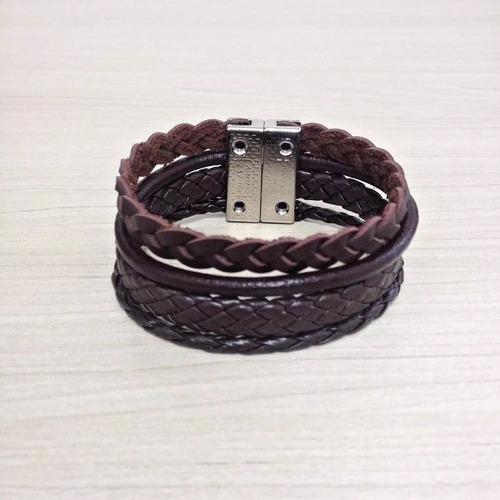 bracelete masculino pulseira couro marrom fecho magnetico