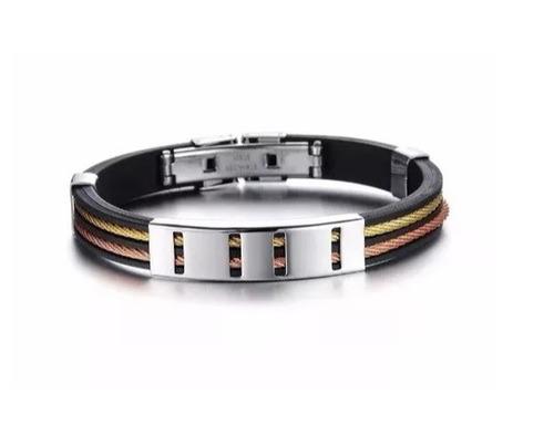 bracelete masculino silicone pulseira homens exclusiva
