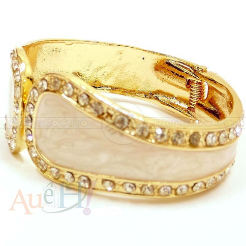 bracelete metal esmalte marfim rose