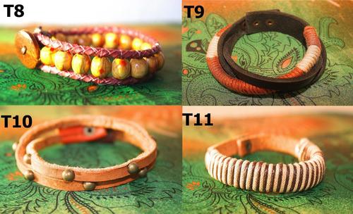 bracelete / pulseira couro - selaria trama