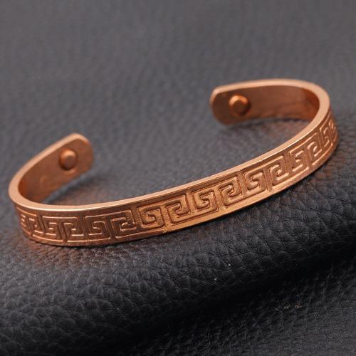bracelete pulseira em cobre-extremidades magnéticas-pentrega