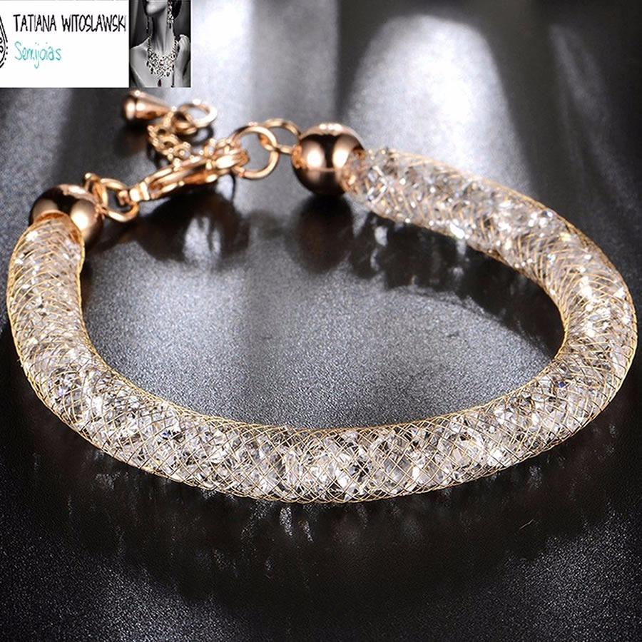 cbe7aa59380 Bracelete Pulseira Folheada Ouro Cristal Modelo Swarovski - R  228 ...