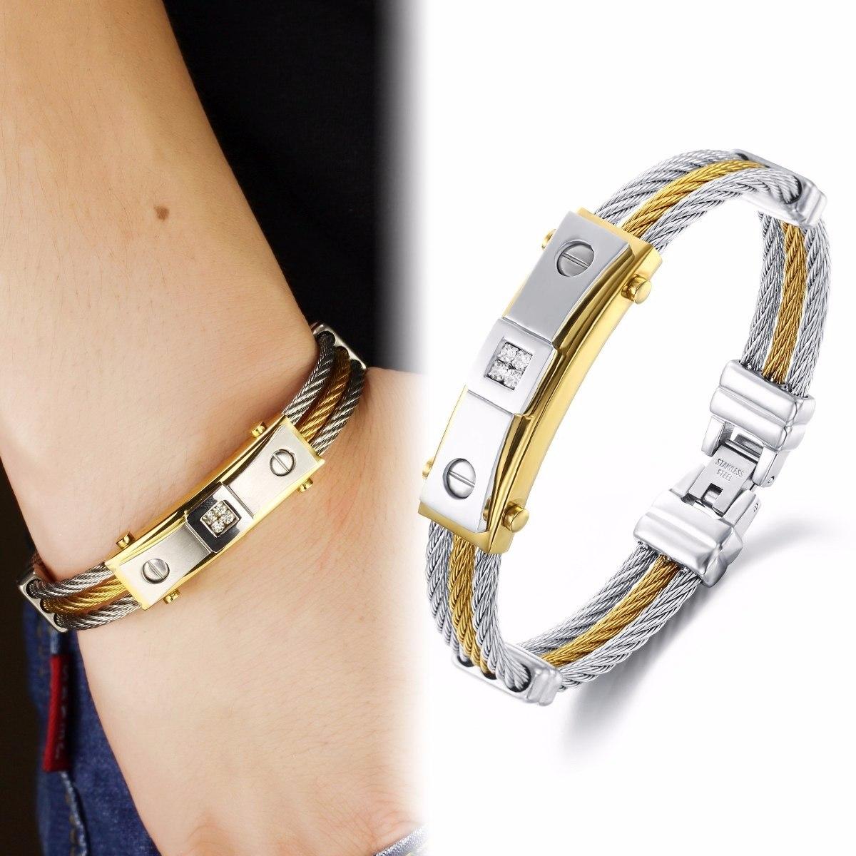 bracelete pulseira masculina aço 316l banhada a ouro 18k. Carregando zoom. d1fc0a3773