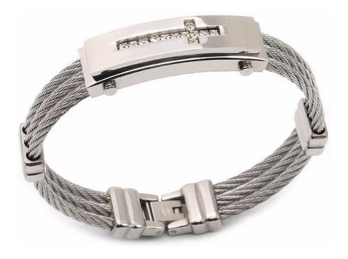 bracelete pulseira masculina  aço inoxidável couro
