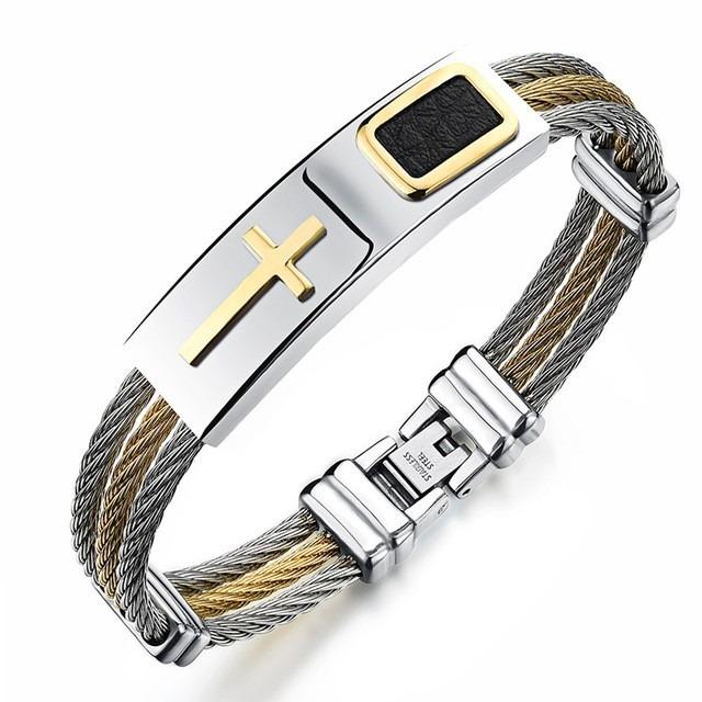 Bracelete Pulseira Masculina Banhada Ouro 18k Cruz Barato - R  59,00 ... 8bbf5310c9