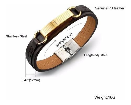 bracelete pulseira masculina couro aço inoxidável banhada