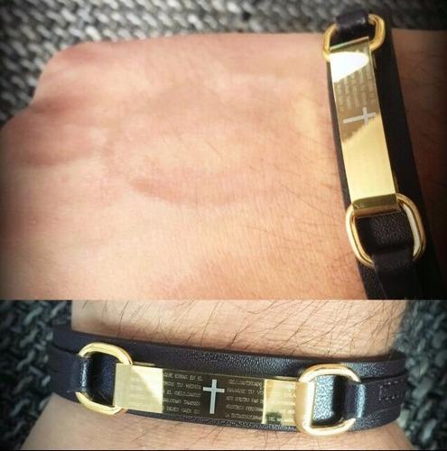 bracelete pulseira masculina couro + aço inoxidável ouro 18k