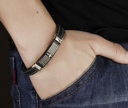 bracelete pulseira masculina pai nosso aço 316l