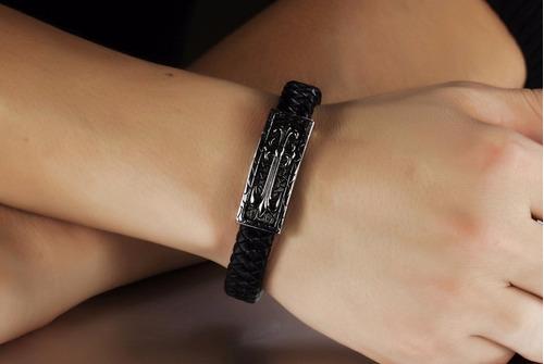 bracelete pulseira masculina unissex em couro legítimo aço