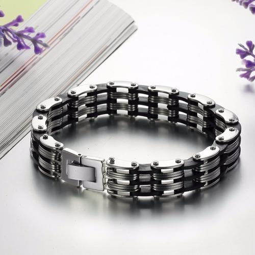 bracelete pulseira masculino em aço inoxidável e silicone