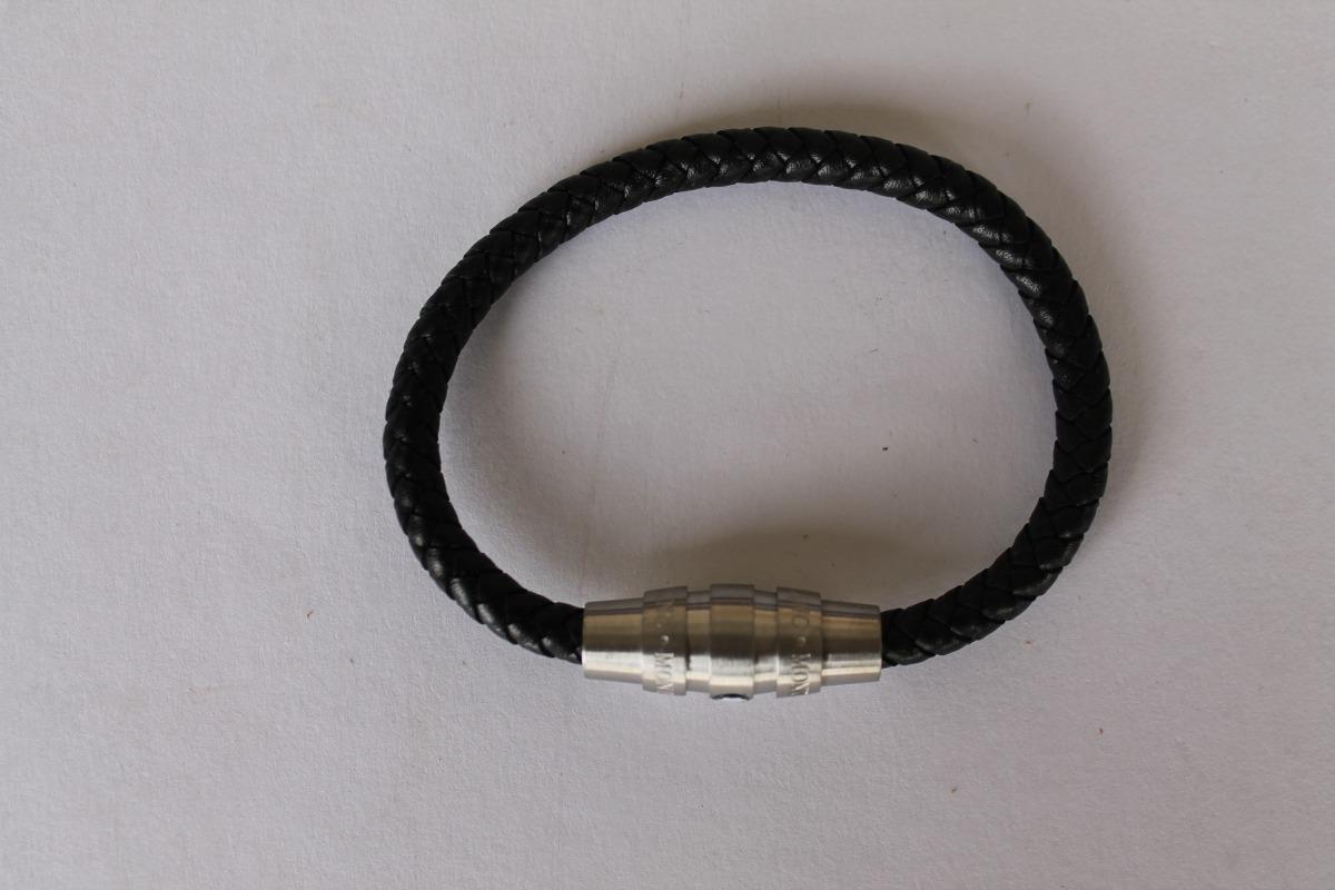 423913cb8f2 bracelete pulseira montblanc em couro trançado prata. Carregando zoom.