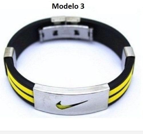 bracelete pulseira nike silicone e aço inoxidável frete gr