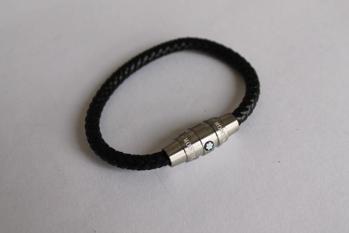 4c9edce0cb6 Bracelete Pulseira Montblanc Em Couro Trançado Prata - R  399
