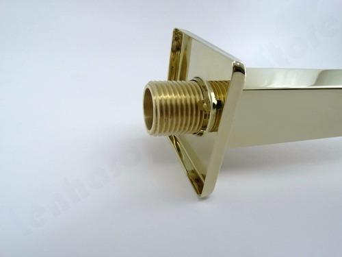 braço de metal quadrado dourado para duchas - pronta entrega