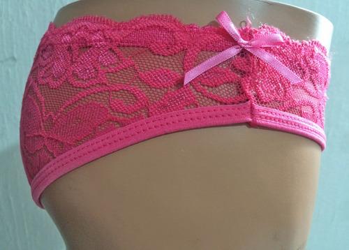 braguitas - calzones sensuales de encaje color rosa