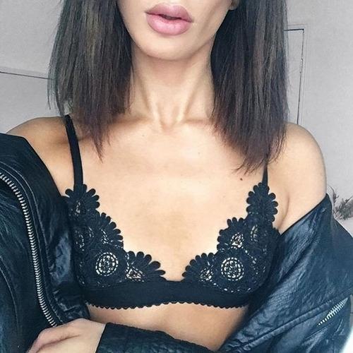 bralette top encaje sexy brasier sin varilla lencería flores